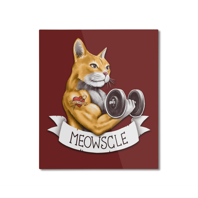 Meowscle Home Mounted Aluminum Print by c0y0te7's Artist Shop