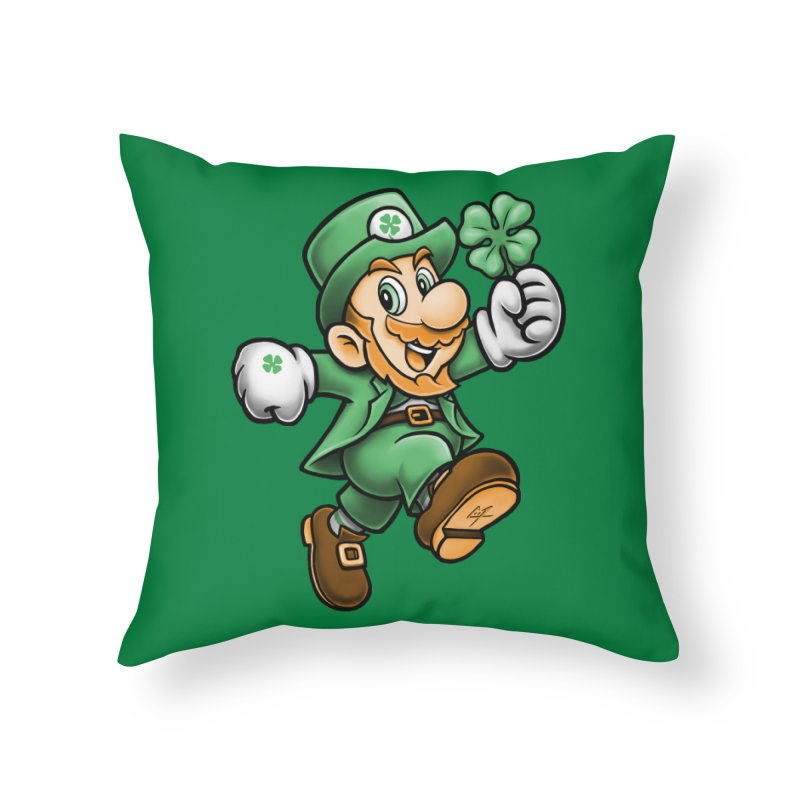 Lucky Mario Home Throw Pillow by c0y0te7's Artist Shop