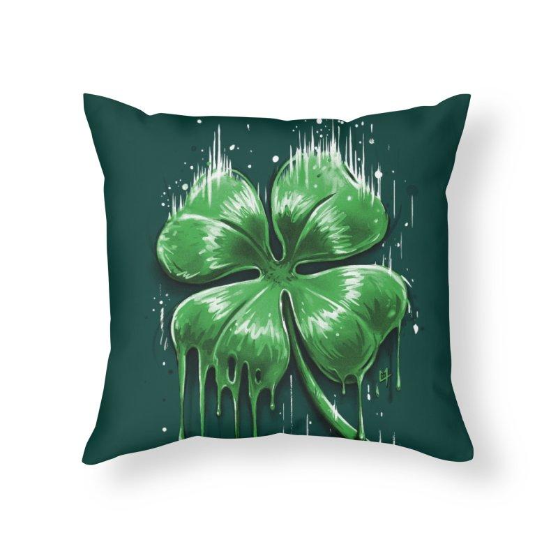 Four Leaf Clover Home Throw Pillow by c0y0te7's Artist Shop
