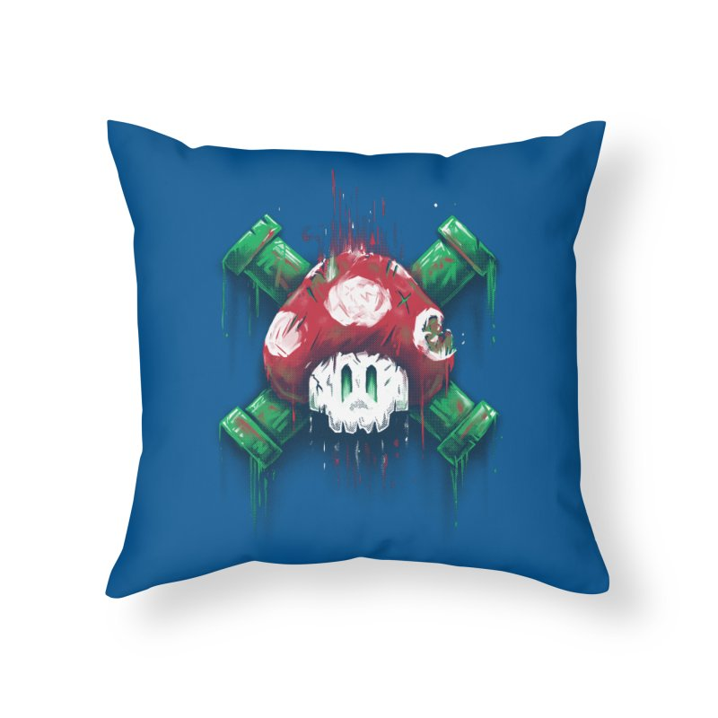 Mushroom Skull Home Throw Pillow by c0y0te7's Artist Shop