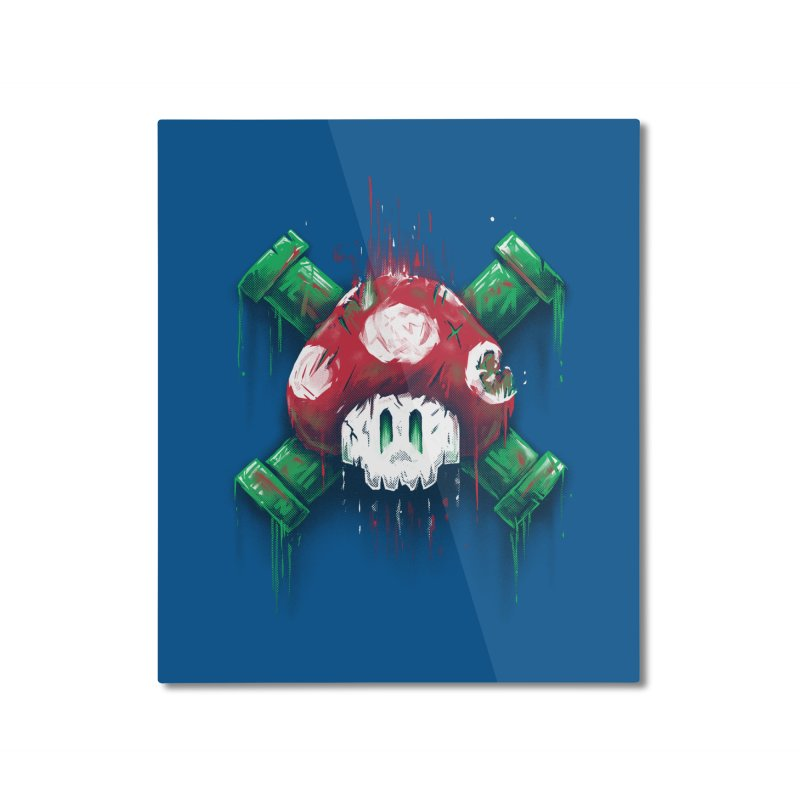 Mushroom Skull Home Mounted Aluminum Print by c0y0te7's Artist Shop