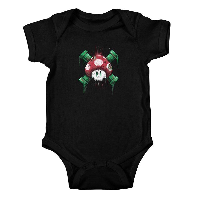 Mushroom Skull Kids Baby Bodysuit by c0y0te7's Artist Shop