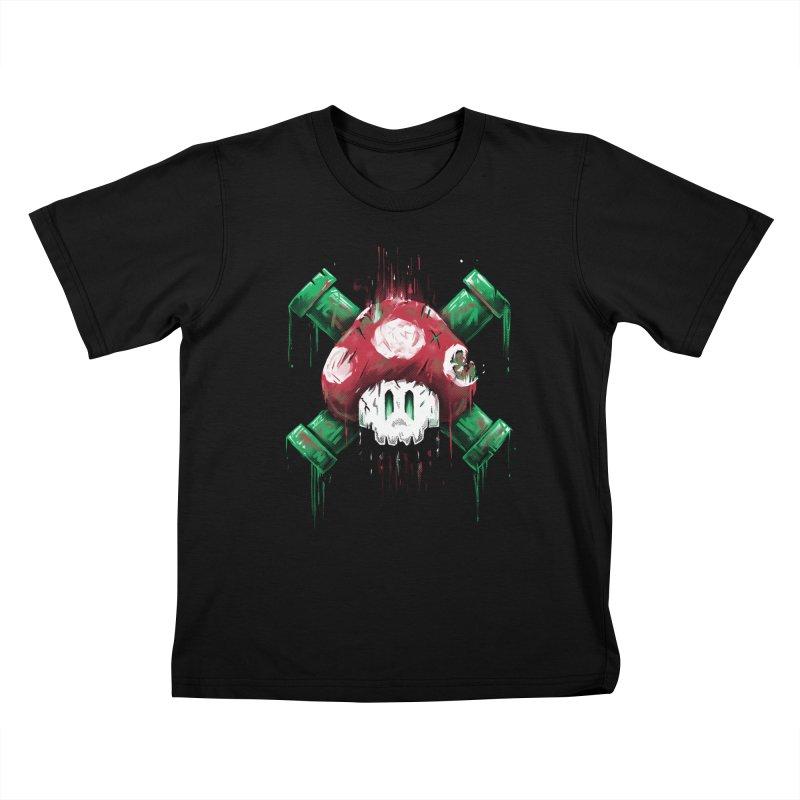 Mushroom Skull Kids T-Shirt by c0y0te7's Artist Shop