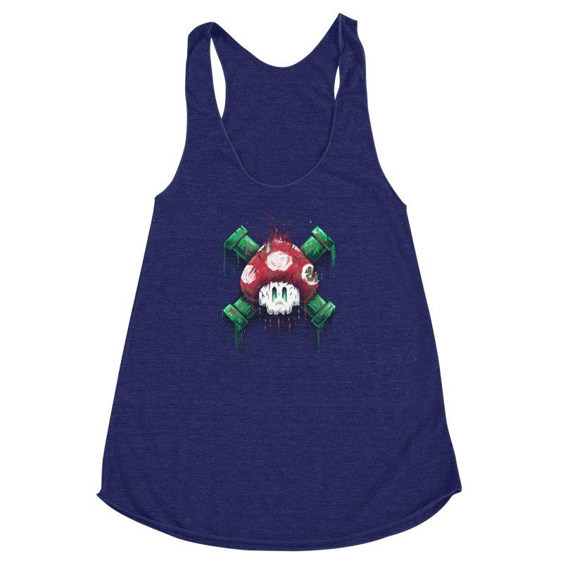 Mushroom Skull Women's Racerback Triblend Tank by c0y0te7's Artist Shop