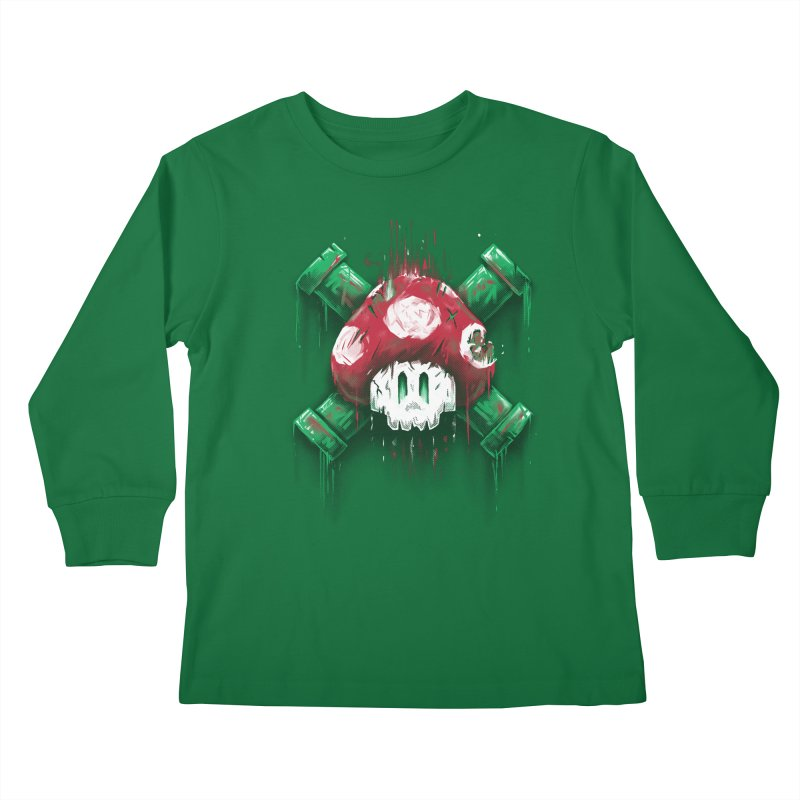 Mushroom Skull Kids Longsleeve T-Shirt by c0y0te7's Artist Shop