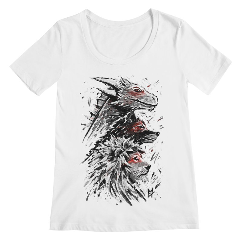 Dragon Wolf Lion Women's Scoopneck by c0y0te7's Artist Shop