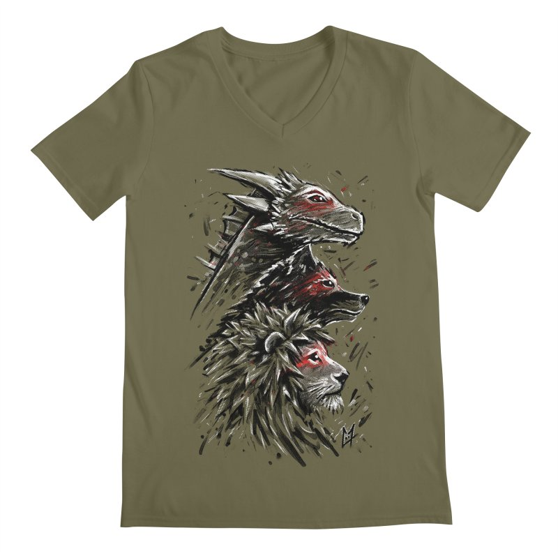 Dragon Wolf Lion Men's V-Neck by c0y0te7's Artist Shop