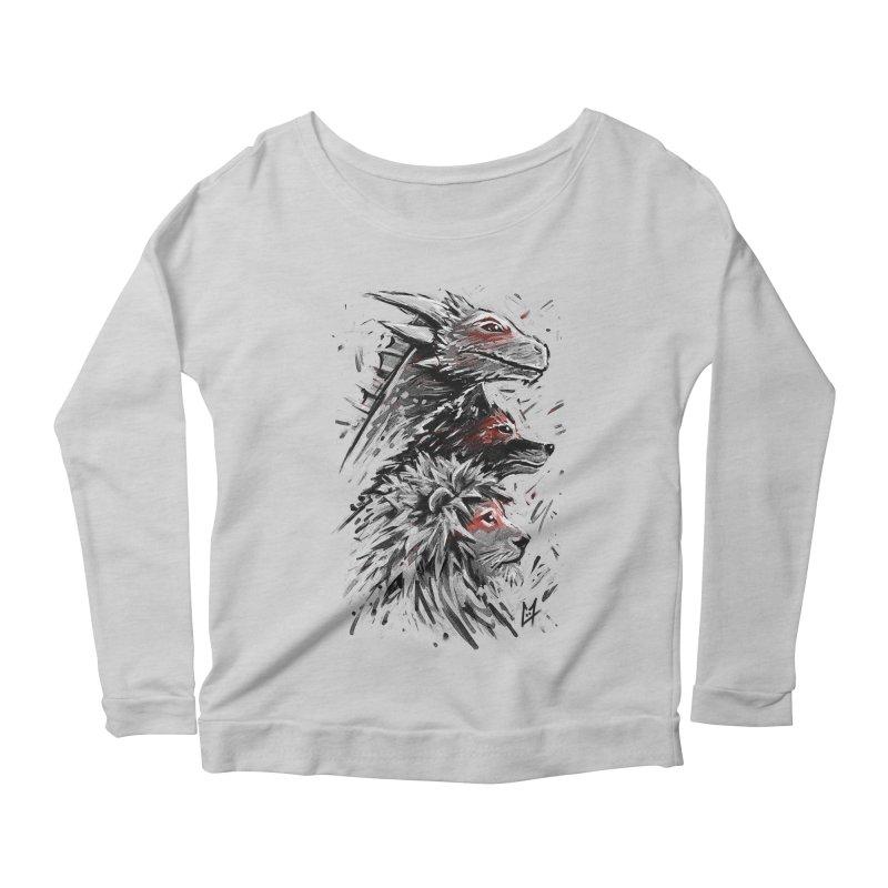 Dragon Wolf Lion Women's Longsleeve Scoopneck  by c0y0te7's Artist Shop