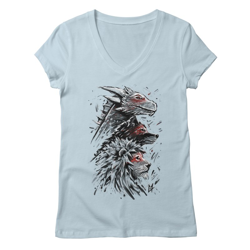 Dragon Wolf Lion Women's V-Neck by c0y0te7's Artist Shop