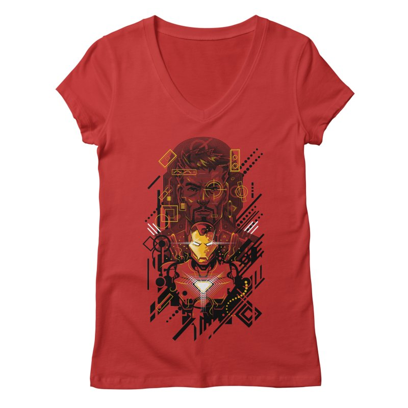 Man Under Iron Women's V-Neck by c0y0te7's Artist Shop