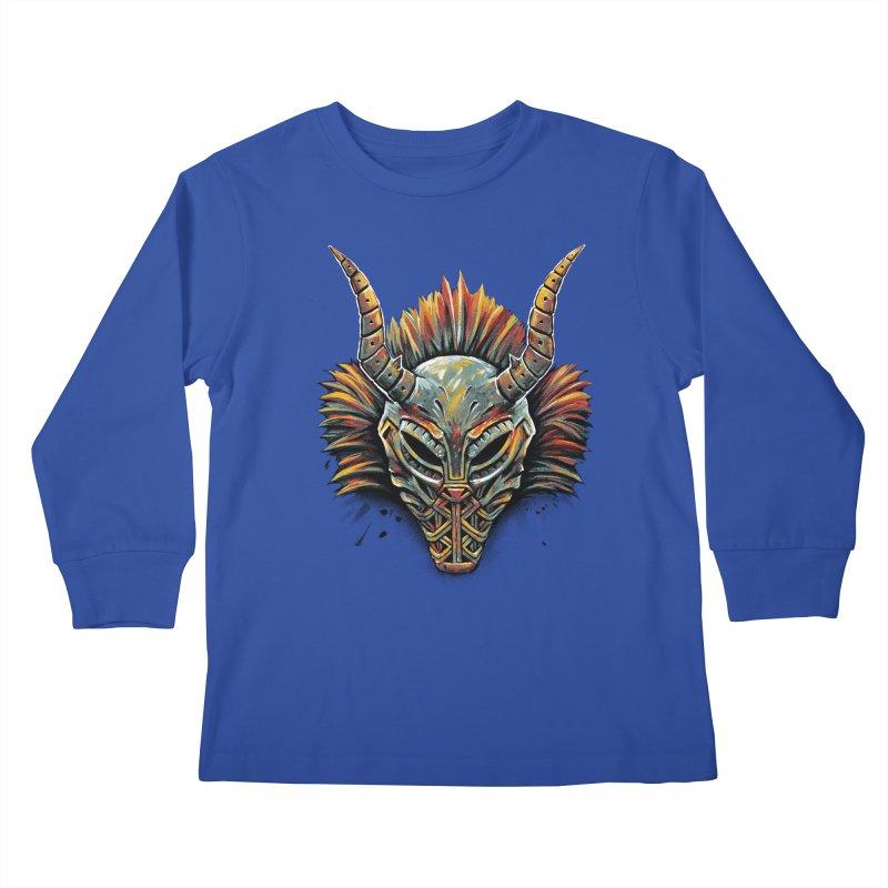 Killmonger Tribal Mask Kids Longsleeve T-Shirt by c0y0te7's Artist Shop
