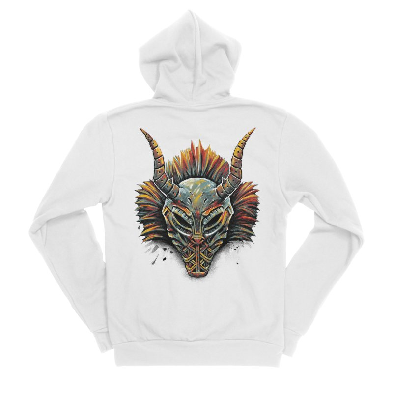 Killmonger Tribal Mask Men's Sponge Fleece Zip-Up Hoody by c0y0te7's Artist Shop