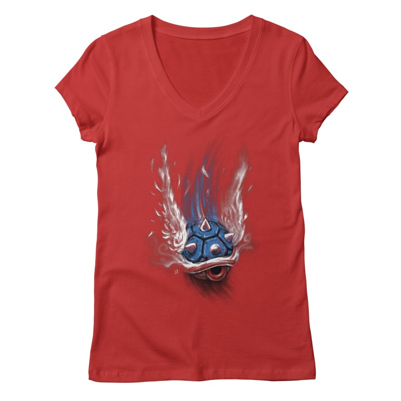 Blue Shell Attack Women's V-Neck by c0y0te7's Artist Shop