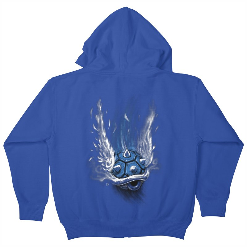Blue Shell Attack Kids Zip-Up Hoody by c0y0te7's Artist Shop