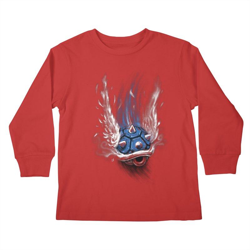 Blue Shell Attack Kids Longsleeve T-Shirt by c0y0te7's Artist Shop
