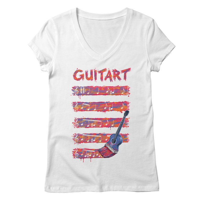 GuitArt Women's V-Neck by c0y0te7's Artist Shop