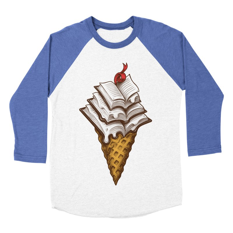Ice Cream Books Men's Baseball Triblend Longsleeve T-Shirt by c0y0te7's Artist Shop