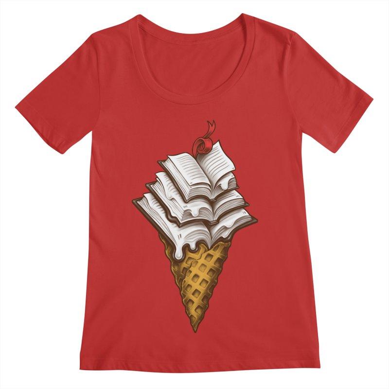 Ice Cream Books Women's Regular Scoop Neck by c0y0te7's Artist Shop