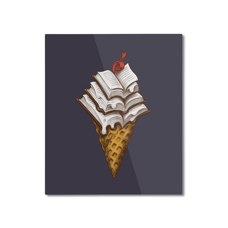 Ice Cream Books Home Mounted Aluminum Print by c0y0te7's Artist Shop