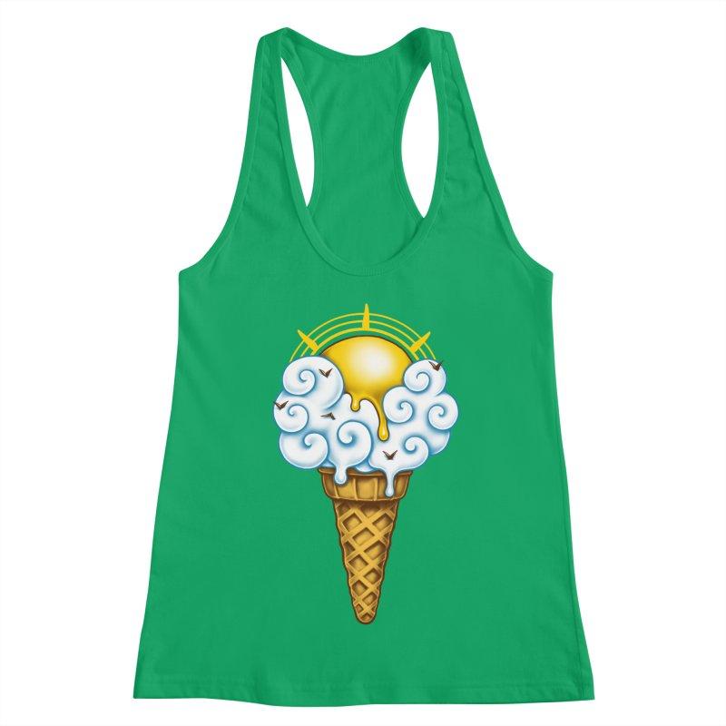 Sunny Ice Cream Women's Racerback Tank by c0y0te7's Artist Shop