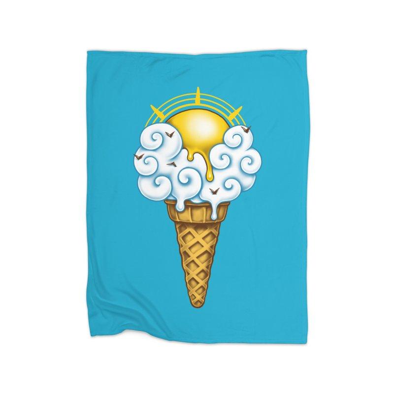 Sunny Ice Cream Home Fleece Blanket Blanket by c0y0te7's Artist Shop