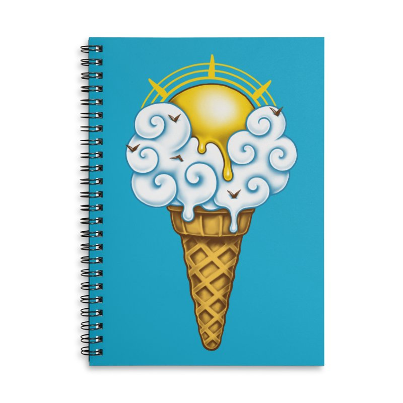 Sunny Ice Cream Accessories Lined Spiral Notebook by c0y0te7's Artist Shop