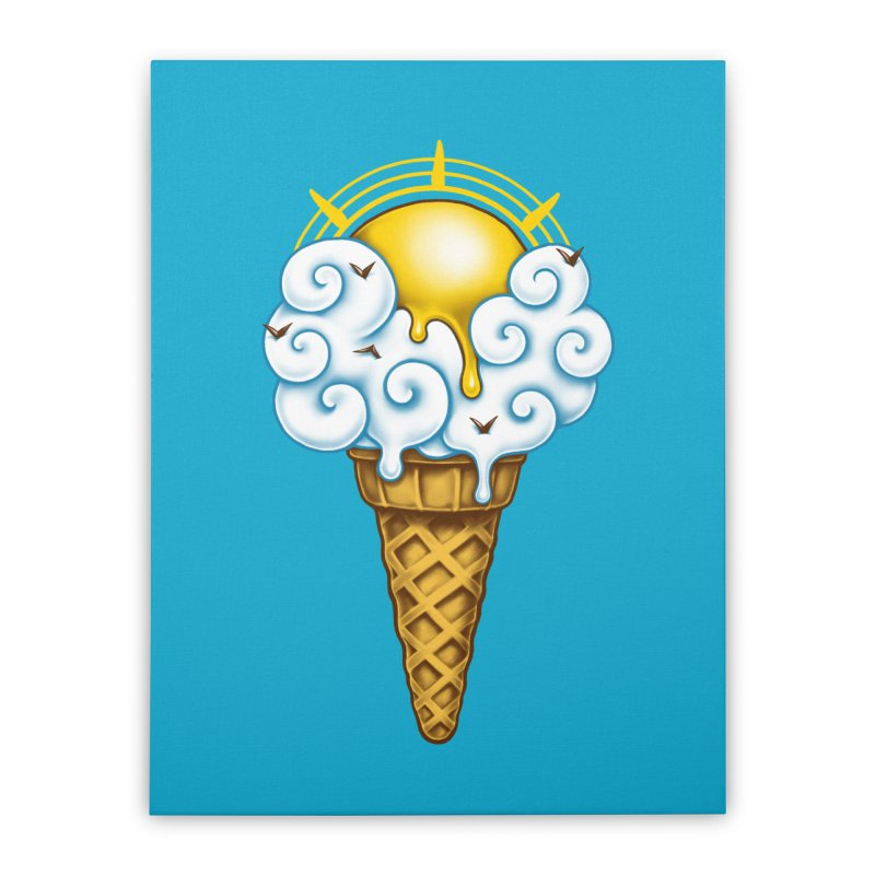 Sunny Ice Cream Home Stretched Canvas by c0y0te7's Artist Shop