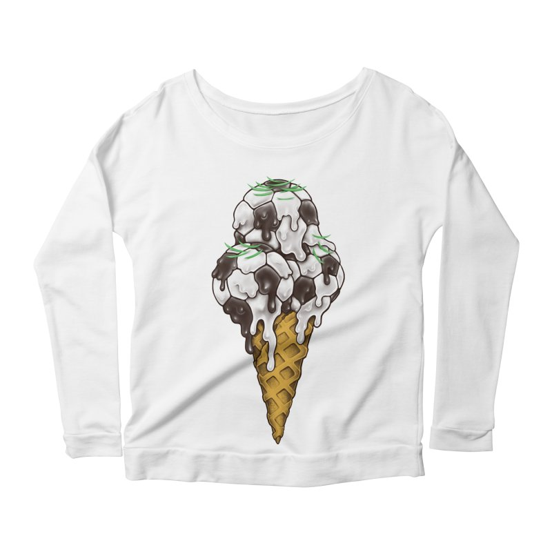 Ice Cream Soccer Balls Women's Scoop Neck Longsleeve T-Shirt by c0y0te7's Artist Shop