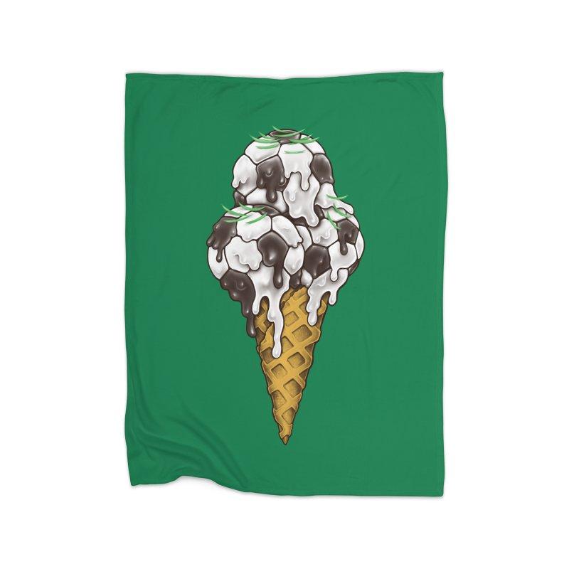 Ice Cream Soccer Balls Home Fleece Blanket Blanket by c0y0te7's Artist Shop