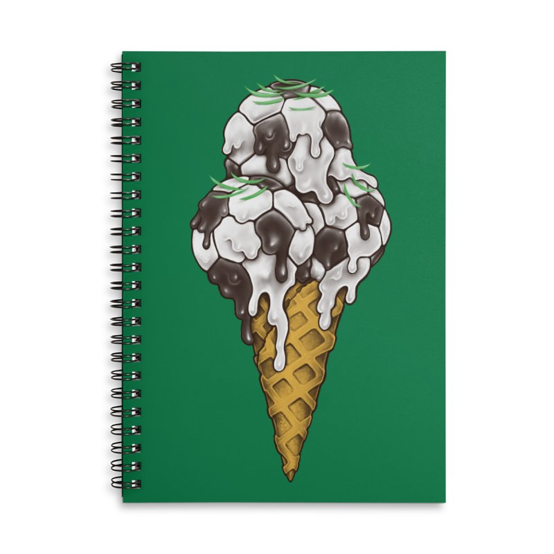 Ice Cream Soccer Balls Accessories Lined Spiral Notebook by c0y0te7's Artist Shop