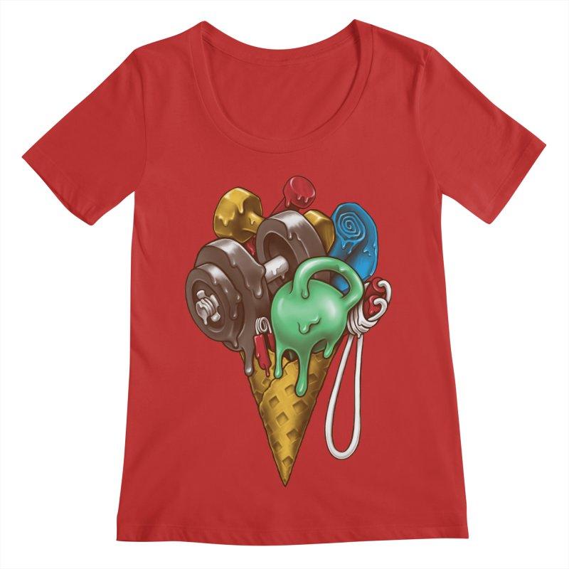 Ice Cream Workout Women's Regular Scoop Neck by c0y0te7's Artist Shop