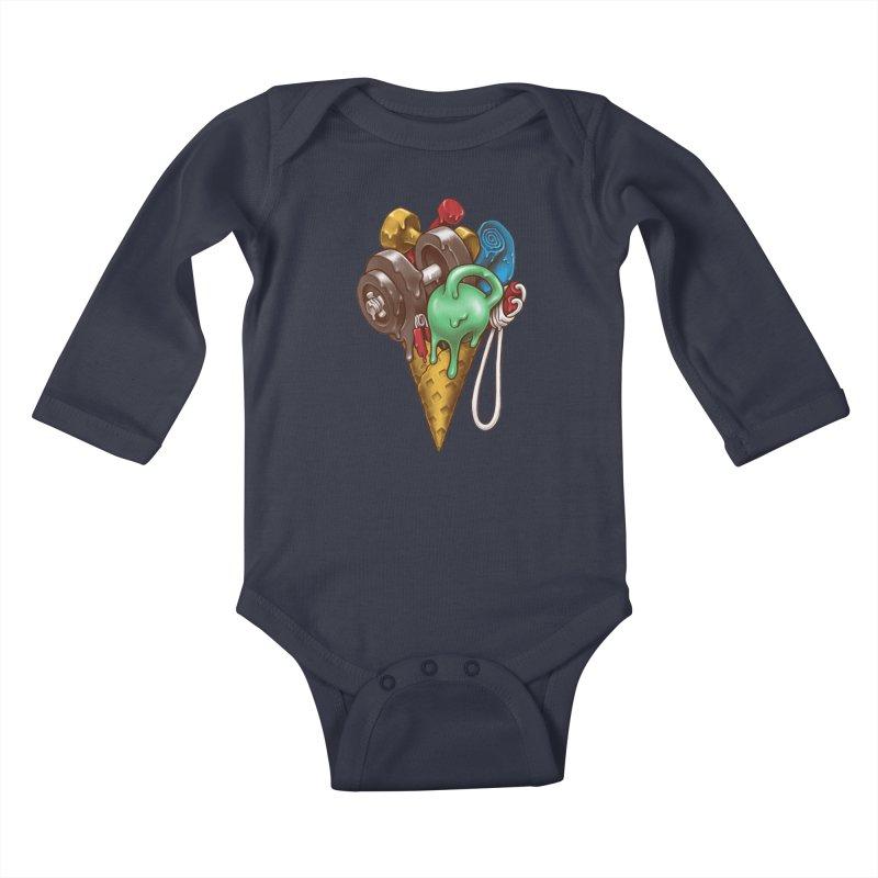Ice Cream Workout Kids Baby Longsleeve Bodysuit by c0y0te7's Artist Shop