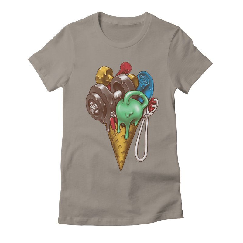 Ice Cream Workout Women's Fitted T-Shirt by c0y0te7's Artist Shop