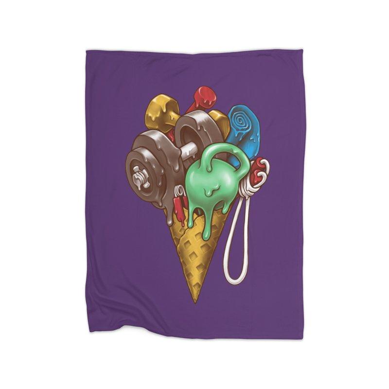 Ice Cream Workout Home Fleece Blanket Blanket by c0y0te7's Artist Shop