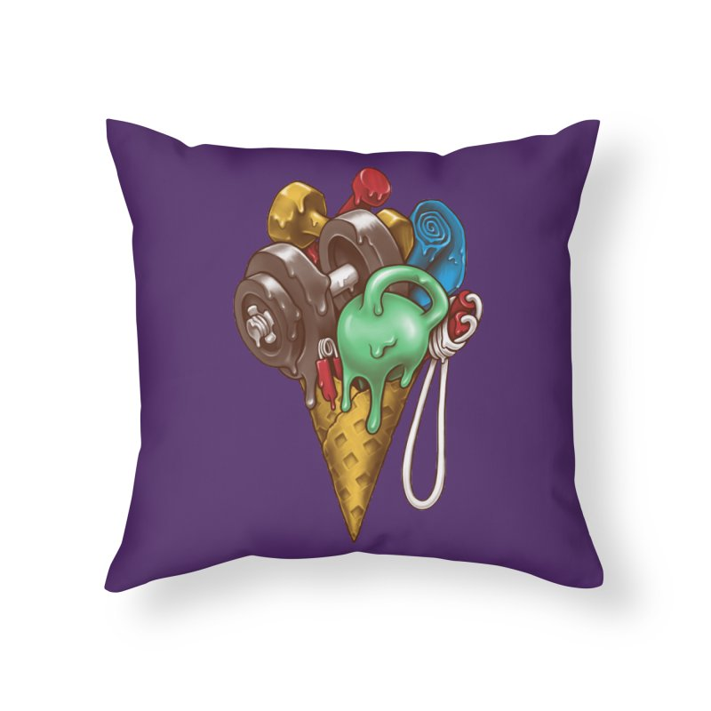 Ice Cream Workout Home Throw Pillow by c0y0te7's Artist Shop