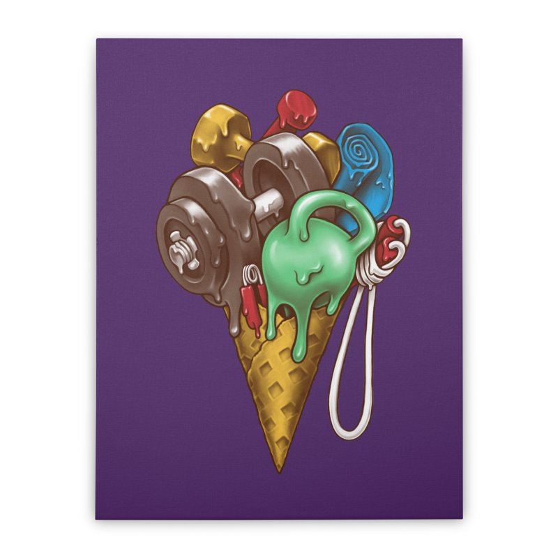 Ice Cream Workout Home Stretched Canvas by c0y0te7's Artist Shop