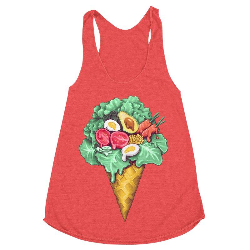 Ice Cream Salad Women's Racerback Triblend Tank by c0y0te7's Artist Shop