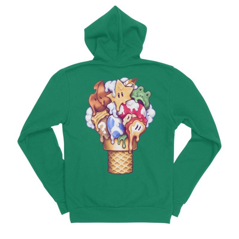 Ice Cream Power Up Men's Sponge Fleece Zip-Up Hoody by c0y0te7's Artist Shop