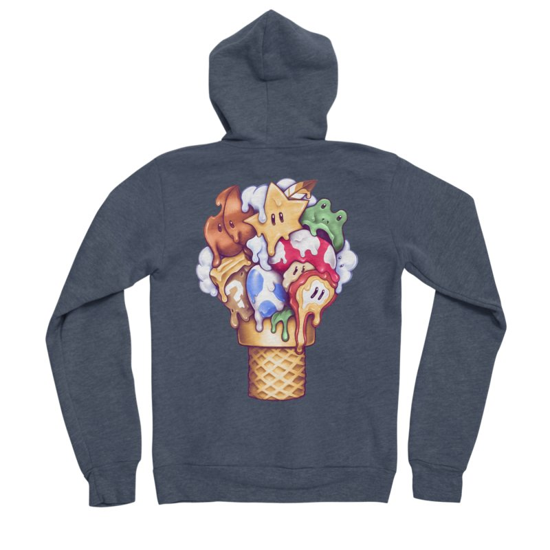 Ice Cream Power Up Women's Sponge Fleece Zip-Up Hoody by c0y0te7's Artist Shop