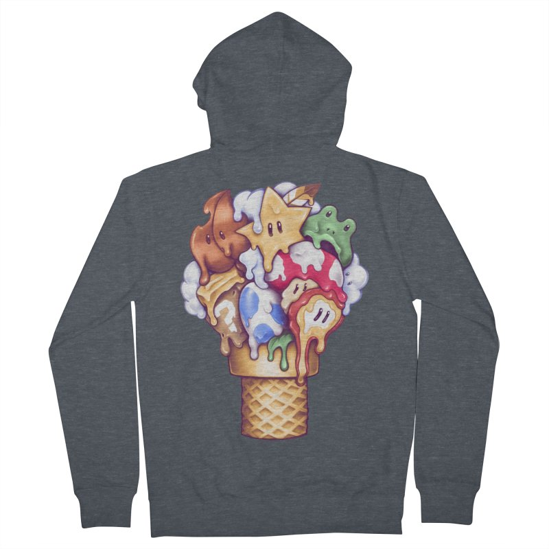 Ice Cream Power Up Women's French Terry Zip-Up Hoody by c0y0te7's Artist Shop