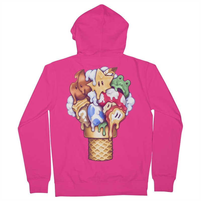 Ice Cream Power Up Men's French Terry Zip-Up Hoody by c0y0te7's Artist Shop