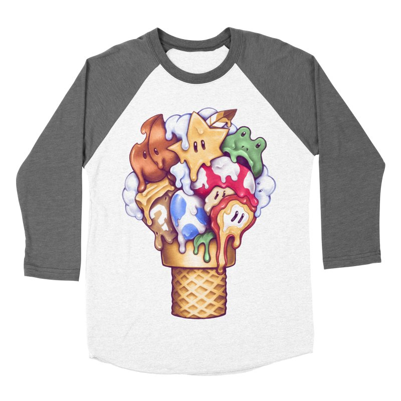 Ice Cream Power Up Women's Baseball Triblend Longsleeve T-Shirt by c0y0te7's Artist Shop