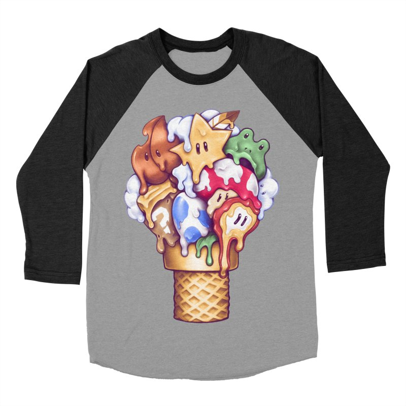 Ice Cream Power Up Men's Baseball Triblend Longsleeve T-Shirt by c0y0te7's Artist Shop