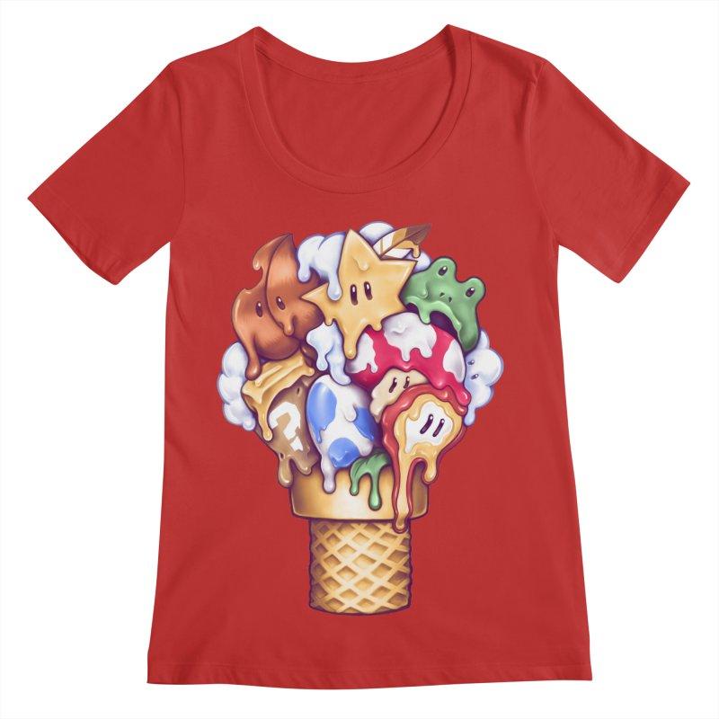 Ice Cream Power Up Women's Regular Scoop Neck by c0y0te7's Artist Shop