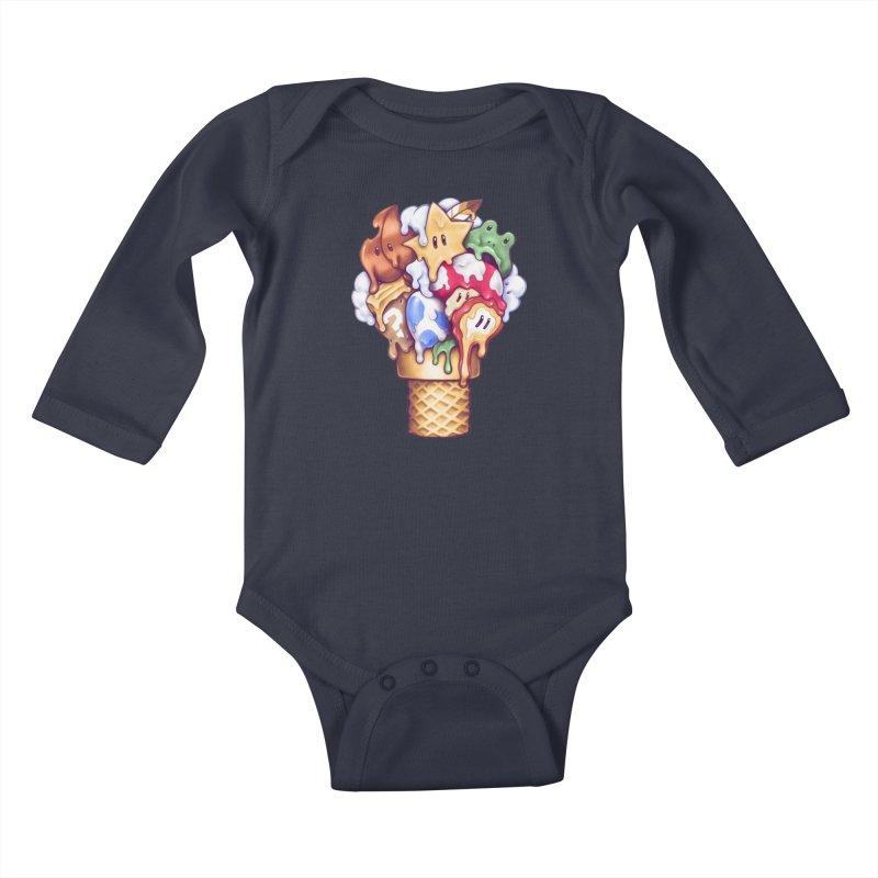 Ice Cream Power Up Kids Baby Longsleeve Bodysuit by c0y0te7's Artist Shop
