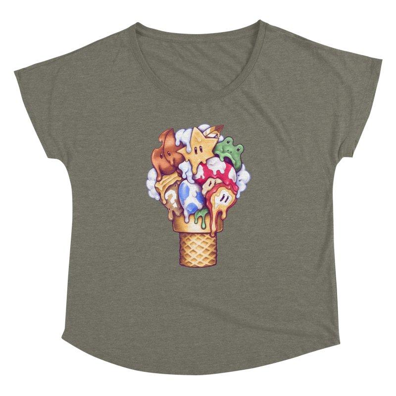 Ice Cream Power Up Women's Dolman Scoop Neck by c0y0te7's Artist Shop