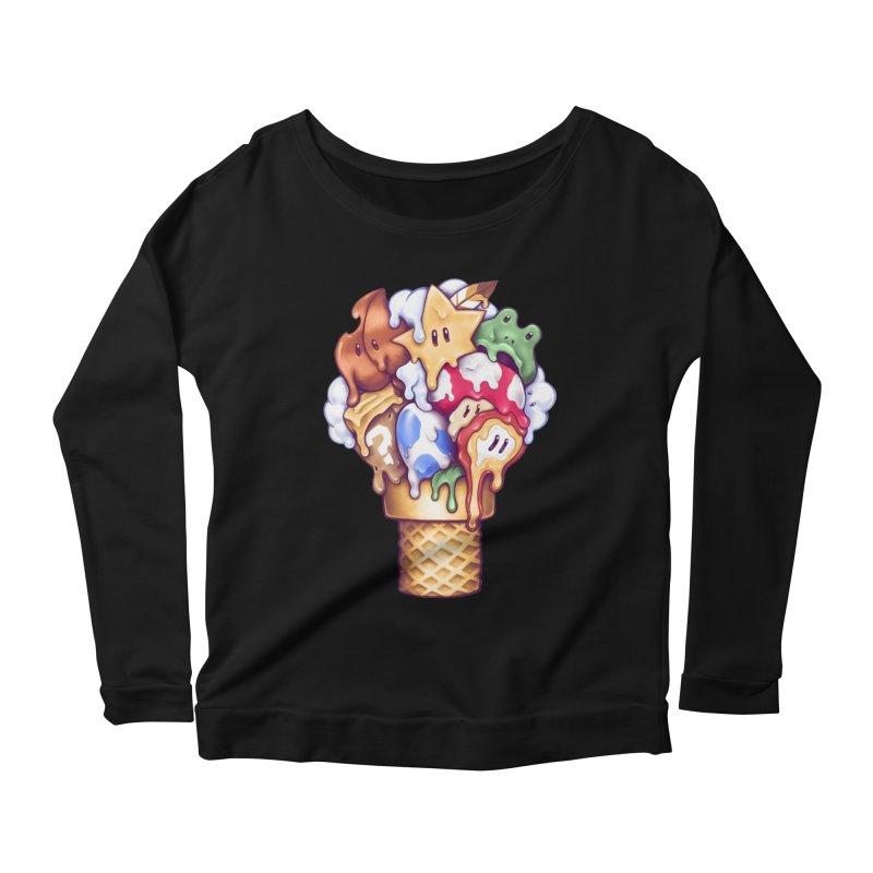 Ice Cream Power Up Women's Scoop Neck Longsleeve T-Shirt by c0y0te7's Artist Shop