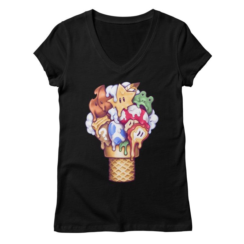 Ice Cream Power Up Women's V-Neck by c0y0te7's Artist Shop