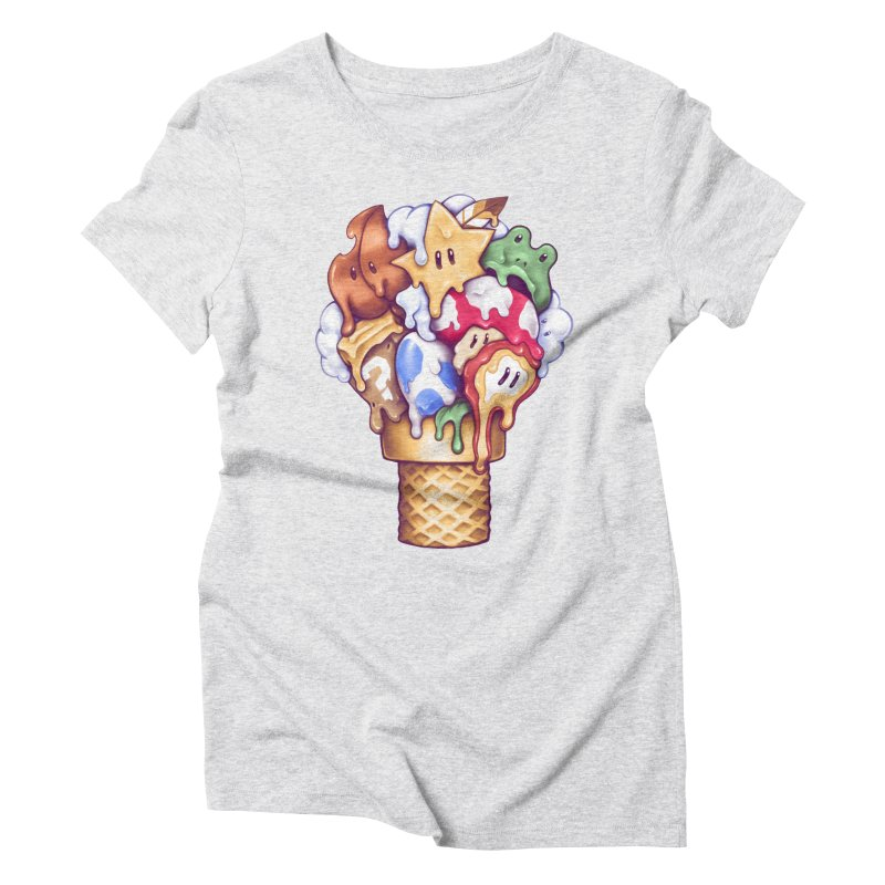 Ice Cream Power Up Women's Triblend T-Shirt by c0y0te7's Artist Shop