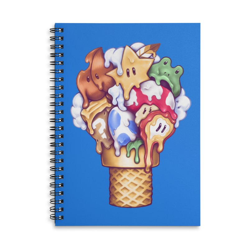 Ice Cream Power Up Accessories Lined Spiral Notebook by c0y0te7's Artist Shop